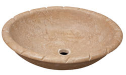 Oval Travertine Sink with Rope Edge