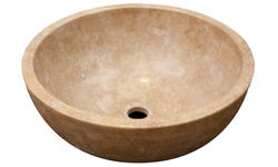 Polished Travertine Oval Vessel