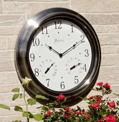 """18"""" Indoor/Outdoor Brushed Nickel Wall Clock"""
