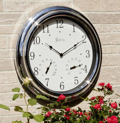 """18"""" Indoor/Outdoor Chrome Wall Clock"""
