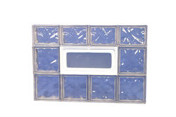 "IPS 32"" x 22"" Wave Glass Block Panel with Hopper Vent"
