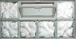 """IPS 32"""" x 16"""" Wave Glass Block Panel with Hopper Vent"""