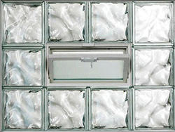 "IPS 32"" x 24"" Wave Glass Block Panel with Hopper Vent"