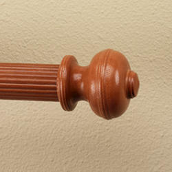 "Intercrown 1 3/8"" Diameter Wood Decorative V Rib Ball Finial - Oak"