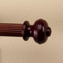 "Intercrown 1 3/8"" Diameter Decorative Wood V Rib Ball Finial - Cherry"