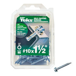 """Teks #10 x 1-1/2"""" Hex Drill Point Self-Tapping Screws - 90 Count"""