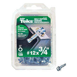 "Teks #12 x 3/4"" Hex Drill Point Self-Tapping Screws - 120 Count"