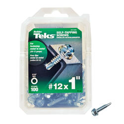 """Teks #12 x 1"""" Hex Drill Point Self-Tapping Screws - 100 Count"""