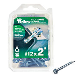 "Teks #12 x 2"" Hex Drill Point Self-Tapping Screws - 60 Count"