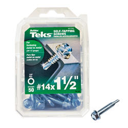"Teks #14 x 1-1/2"" Hex Drill Point Self-Tapping Screws - 50 Count"