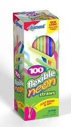100 Count Flexible Neon Straw