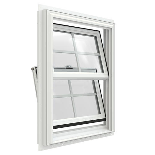 Jeld wen builders series low e 366 argon vinyl double hung for Vinyl insulated windows