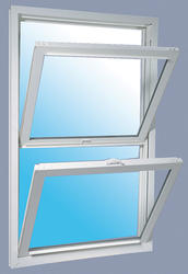 "JELD-WEN® Builders Series 32-1/4"" x 54"" White Vinyl Low-E 366 Glass Pocket Double-Hung Window"