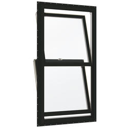 "JELD-WEN® Builders Series 30"" x 56-1/2"" Chestnut Bronze/White Vinyl Low-E 366 Glass Double-Hung Window"