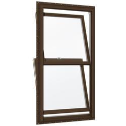 "JELD-WEN® Builders Series 30"" x 56-1/2"" Dark Chocolate/White Vinyl Low-E 366 Glass Double-Hung Window"