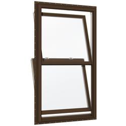"JELD-WEN® Builders Series 34"" x 40-1/2"" Dark Chocolate/White Vinyl Low-E 366 Glass Double-Hung Window"