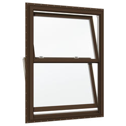 "JELD-WEN® Builders Series 38"" x 41-1/2"" Dark Chocolate/White Vinyl Low-E 366 Glass Double-Hung Window"