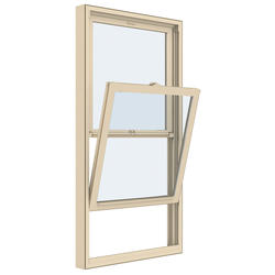 "JELD-WEN® Builders Series 28-1/4"" x 62"" Almond Vinyl Low-E 366 Glass Pocket Double-Hung Window"