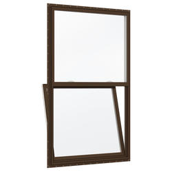 "JELD-WEN® Builders Series 36"" x 54"" Dark Chocolate/White Vinyl Clear Insulated Glass Single-Hung Window"