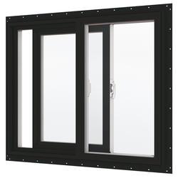 "JELD-WEN® Builders Series 24"" x 24"" Chestnut Bronze/White Vinyl Low-E 272 Glass XO Slider Window"