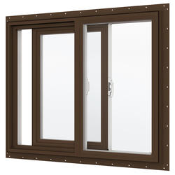"JELD-WEN® Builders Series 24"" x 24"" Dark Chocolate/White Vinyl Low-E 272 Glass XO Slider Window"