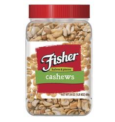Fisher Cashew Halves & Pieces - 24 oz