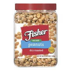 Fisher Dry Roasted Peanuts - 36 oz