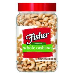 Fisher Premium Whole Cashews - 24 oz