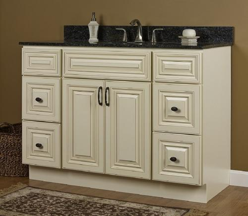jsi 48 rta cream paint with glaze vanity with 4 drawers