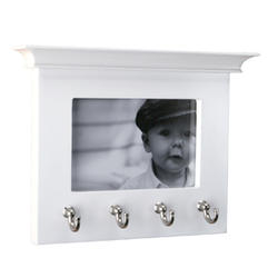 4-Hook White and Satin Nickel Decorative Picture Frame