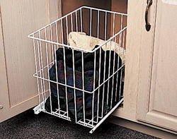 "Knape & Vogt 11"" x 14-1/4"" Powder-Coated Slide-Out Wire Hamper"
