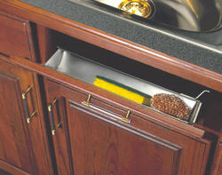 """Knape & Vogt 31"""" Stainless Steel Sink Front Tray with Single Built-in Stop"""