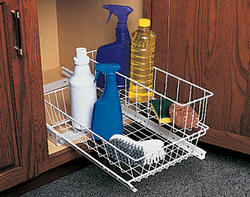"Knape & Vogt 11"" Slide-Out Undersink Basket with Attached Top Basket"