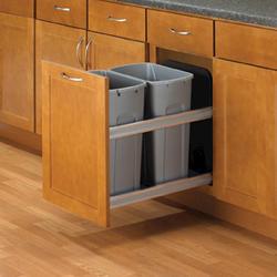 """Knape & Vogt 18"""" Undermount Soft-Close 50 Quart Double Waste & Recycling Bin"""