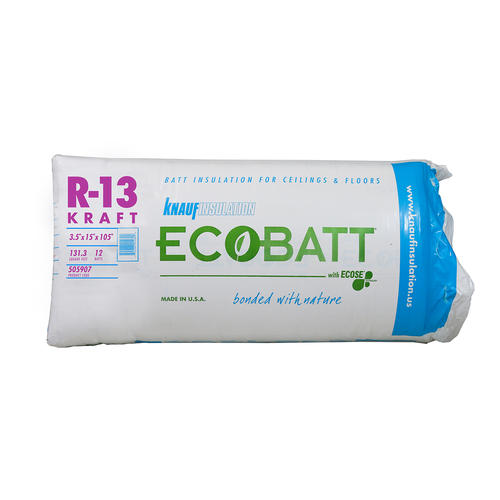 Knauf insulation r 13 3 1 2 x 15 x 105 kraft fiberglass R value of fiberglass batt insulation