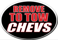 """Knockout """"REMOVE TO TOW CHEVS"""" Hitch Cover"""