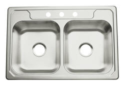 "Sterling Middleton 33"" x 22"" 3-Hole Double-Basin Kitchen Sink"