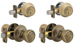 Kwikset Tylo Antique Brass Entry Knob and Single Cylinder Deadbolt Project Pack