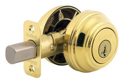 Kwikset 985 Polished Brass Double Cylinder Deadbolt with SmartKey®