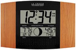 La Crosse Technology Atomic Digital Wall Clock-Black with Oak Finish