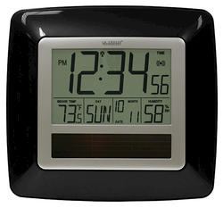 La Crosse Technology Solar Atomic Digital Wall Clock with Indoor Temperature