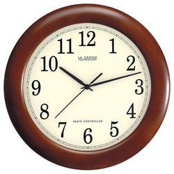 """La Crosse Technology 12.5"""" Atomic Analog Wall Clock-Walnut"""