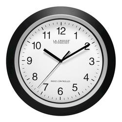 "La Crosse Technology 12"" Atomic Analog Wall Clock-Black Frame"