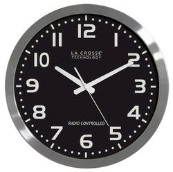 """La Crosse Technology 16"""" Atomic Analog Wall Clock with Black Dial"""