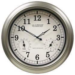 La Crosse Technology 18 Inch Indoor or Outdoor Thermometer and Hygrometer Wall Clock