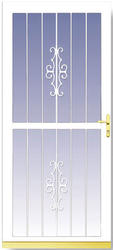 "Larson Classic View 32"" x 80"" White Finish Single-Vent Security Storm and Screen Door with Brass Handle"