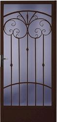 """Larson Palazzo 36"""" x 80"""" Speckled Bronze Finish Right Hinge Full-View Steel Security Door and Screen"""