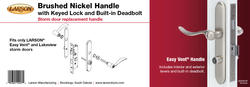 Larson® Bushed Nickel Exterior/Interior Mortised Lever Replacement Hardware for Easy Vent Storm and Screen Doors