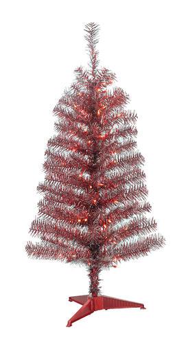Matte gray shiny red prelit tinsel christmas tree at menards 174