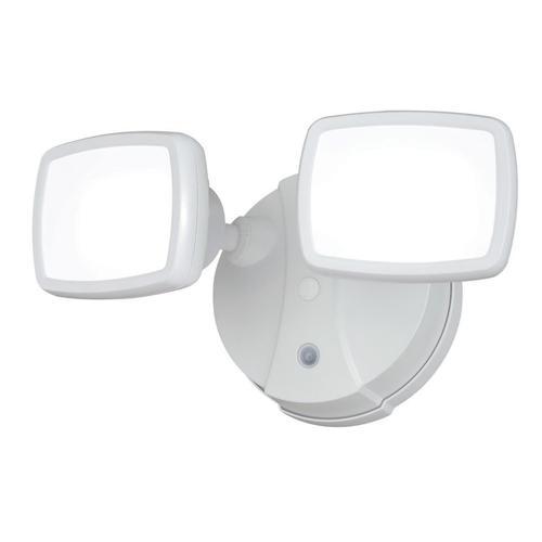 "Outdoor Flood Light Bulbs Menards: Defender LED 5.25"" 2-head Dusk To Dawn Flood Light At Menards®"